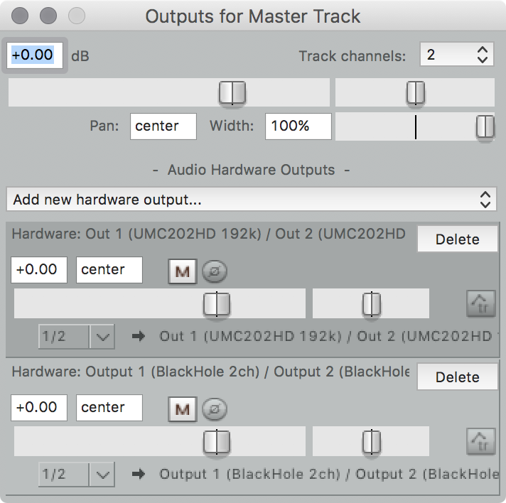 master output routing